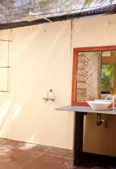 Diva Bungalows View From AC Sea View Bungalow Bathroom Agonda Beach Goa. -