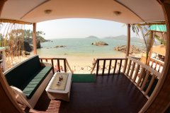 Green Park Beach Resort - View from the balcony of Super Deluxe Beach Hut at Green Park Beach Resort on Palolem Beach,Goa. -