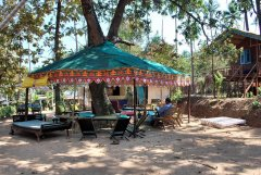 Secret Garden - The restaurant with central tree feature at Secret Garden in Colomb Bay, Goa