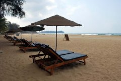 April 20 Resort  Sunbeds and umbrellas are provided for guests at April 20 beach resort in Patnem Beach, Goa