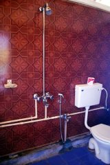 April 20 Resort  - The attached bathroom of a partial seaview beach hut at April 20 beach resort in Patnem Beach, Goa