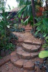 Bhakti Kutir  - A pathway in the beautiful gardens at Bhakti Kutir in Colomb Bay, Goa