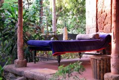 Bhakti Kutir  - A corner of the verandah at a cabana at Bhakti Kutir in Colomb Bay, Goa