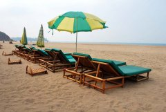 Casa Fiesta Resort  The sunbeds and beach umbrellas at Casa Fiesta on Patnem Beach, Goa