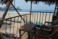 Hi-Tide Coco Huts The balcony of a beach hut on stilts at Hi-Tide Coco Huts in Palolem Beach, Goa