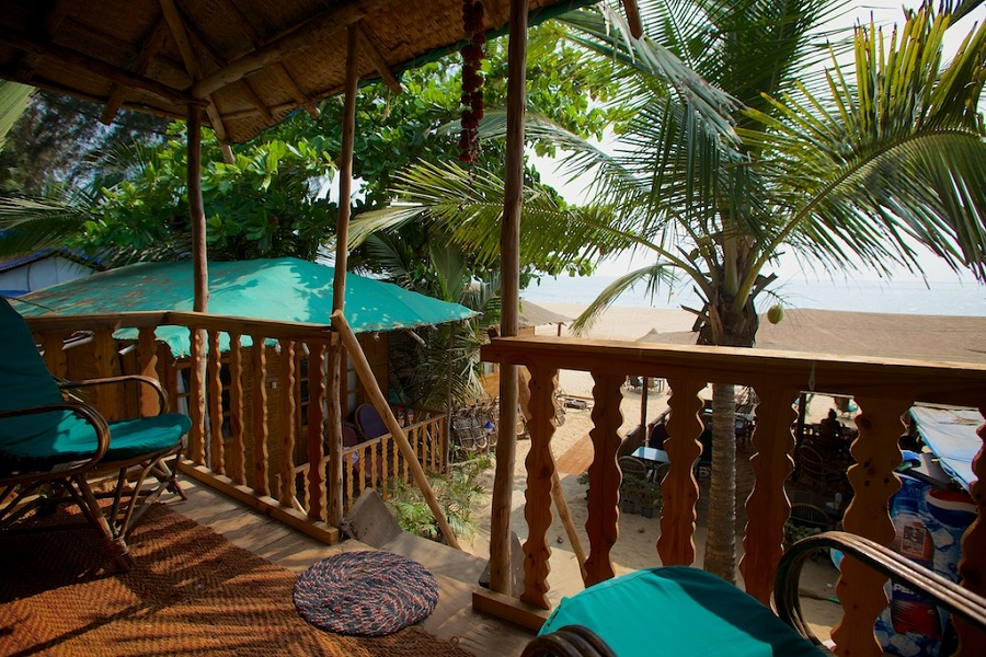 Tantra Cafe and Huts Patnem beach Coconut Beach Hut Balcony View -