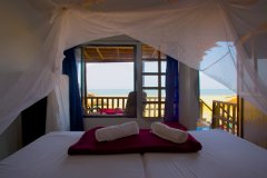 OM Shanti Resort, Patnem beach - Sea Facing Beach Hut Bedroom. -