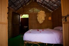 Hangout Agonda - Bedroom of sea view hut of Hangout Agonda on Agonda Beach,Goa. -