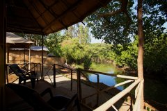 Hangout Agonda - View from the balcony of River view huts of Hangout Agonda on Agonda Beach,Goa. -