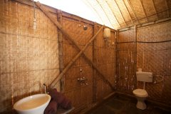Hangout Agonda - Bathroom of Beachfront hut of Hangout Agonda on Agonda Beach,Goa.