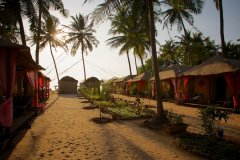 Hangout Agonda - View of the sea view huts of Hangout Agonda on Agonda Beach,Goa.