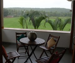 Assagao Villa A7 Master Bedroom Balcony near Anjuna Beach Goa. -